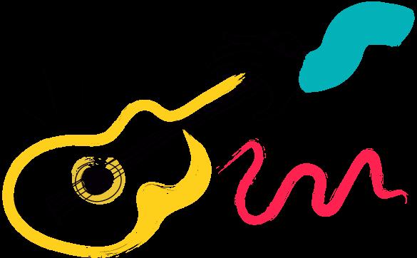 ilustración de mano cogiendo guitarra