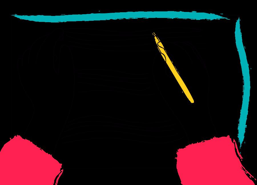 ilustración de manos escribiendo en pentagrama