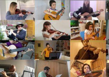Pantalla dividida que muestra 16 alumnos tocando desde casa